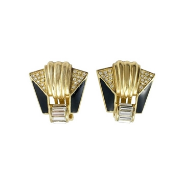 Christian Dior 1980s Art Deco Style Gold Plated vintage Earrings