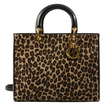 Christian Dior Lady Dior leopard print Brown top handle bag