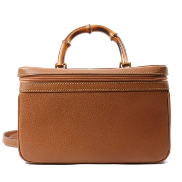 Gucci 2 way bamboo handle brown vintage vanity bag