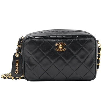 Chanel Lambskin Matelasse Mini black vintage shoulder bag