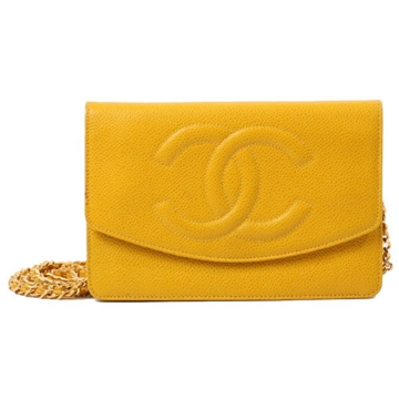 Chanel Caviar leather CC Mark yellow Wallet