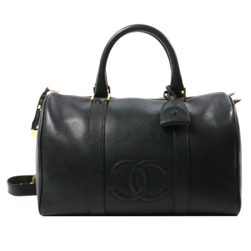 Chanel Caviar CC Mark black leather Boston