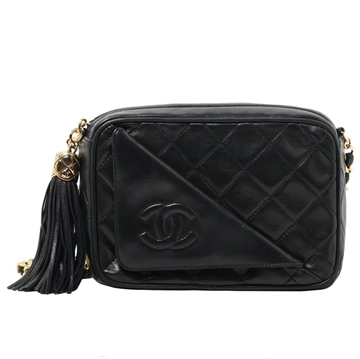 Chanel CC Mark Fringed black vintage shoulder bag