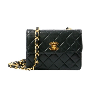 Chanel Matelasse Mini leather black vintage shoulder bag