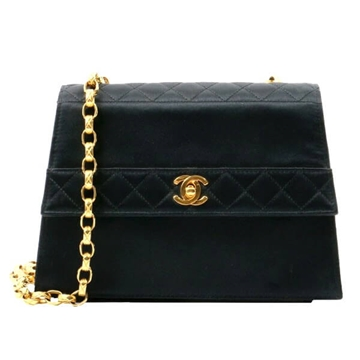 Chanel Slik Satin Matelasse Plate Bijou black vintage shoulder bag