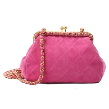 Chanel Quilted Chain Detail Snap Close Suede Pink Vintage Shoulder Bag