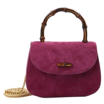 Gucci Bamboo Handle Suede Purple Vintage 2 Way Bag