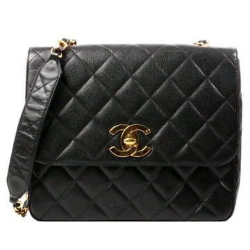 chanel-caviar-matelasse-plate-chain-shoulder-bag-black