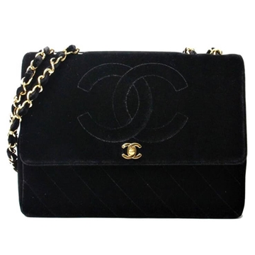 Chanel Velour CC Stitch black vintage shoulder bag