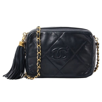Chanel CC Mark Fringed navy vintage shoulder bag