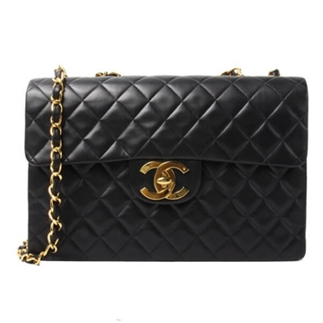 Chanel Classic leather Flap Maxi Black vintage shoulder bag