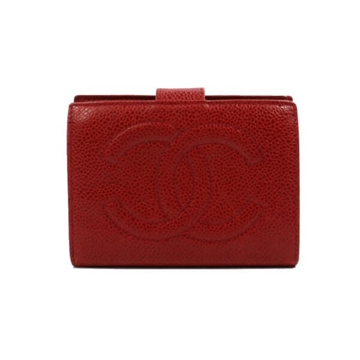 Chanel caviar leather red vintage wallet