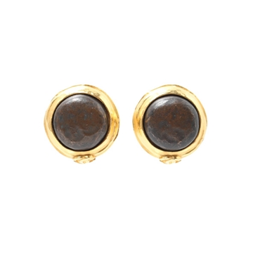Chanel Round Stone Brown & Gold tone vintage diameter earrings