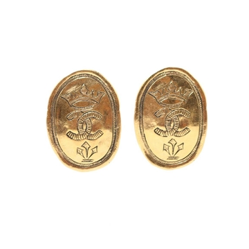 Chanel CC Mark Round Design Oval gold tone vintage Earrings