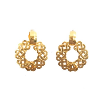 Chanel 1990s CC Mark Circle Swing gold tone vintage Earrings