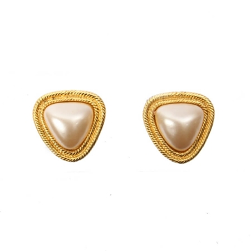 CHANEL Triangle faux pearl and gold tone vintage earrings