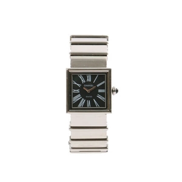 CHANEL Stainless steel Mademoiselle black & silver vintage ladies Watch