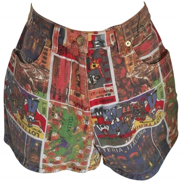 "Moschino junior 1970s ""Lotteria Italiana"" comic strip multicolour vintage shorts"""