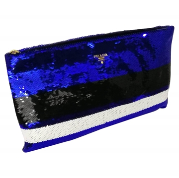 Prada Sequined black & blue Clutch bag