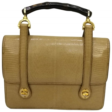 Gucci 1960s  Lizard skin & Bamboo vintage top handle bag