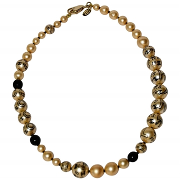 Chanel Faux Pearls black and gold tone Necklace