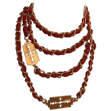 Chanel Red  & Gold tone Razor Blade Belt or Necklace
