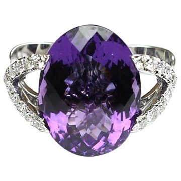 18ct Gold amethyst and diamond vintage ring
