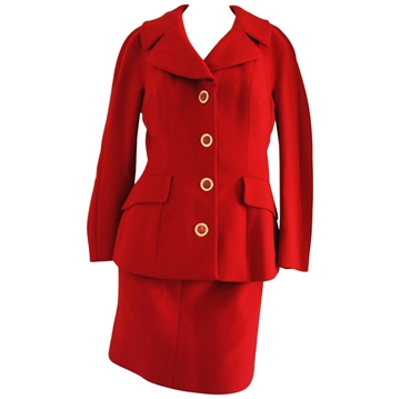 Dolce & Gabbana 1980s wool Red vintage skirt suit