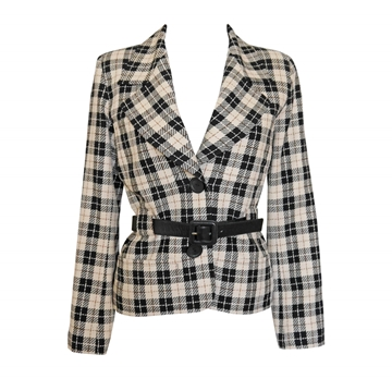 YVES SAINT LAURENT 1980s Belted Checkered black & white vintage Jacket
