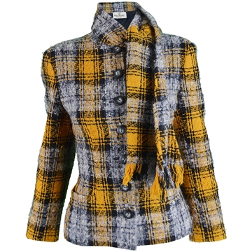 Valentino 1990s Grey & Yellow Checked Wool Bouclé Vintage Jacket
