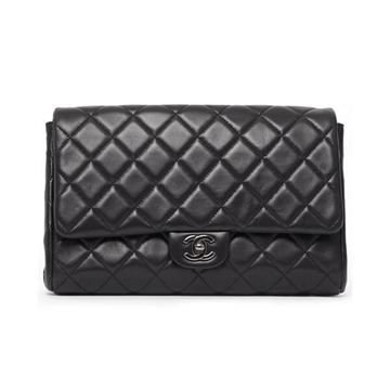 Chanel classic flap chain black & silver vintage clutch bag