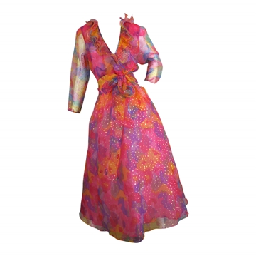Diane Freis 1980s Colorful Polka Dot pink vintage Dress