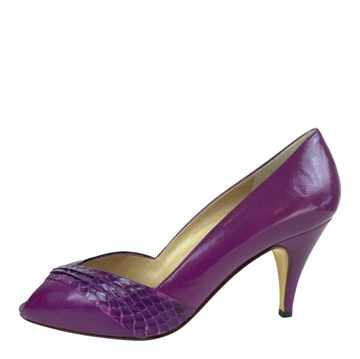 Bruno Magli 1980s Leather & Snakeskin purple vintage peep Toe Heels