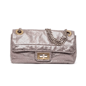 Chanel perforated metallic 2.55 classic silver vintage flap bag