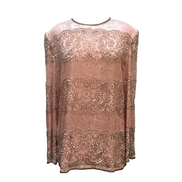 Vintage 1980s sequin long sleeve pink top