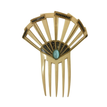 Vintage 1930s celluloid & blue stone hair comb