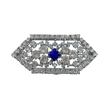 Vintage white paste & central blue stone diamond shaped brooch