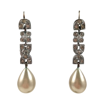Picture of Vintage 1960s faux pearl & silver marcasite drop earrings