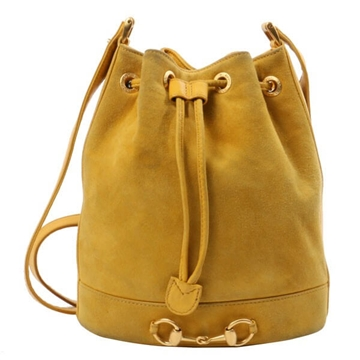 Gucci Suede Hose Bit Drawstring mustard Shoulder Bag