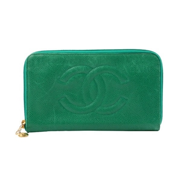 Chanel caviar leather green vintage wallet