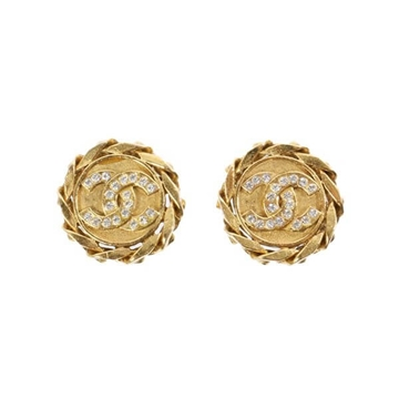 Chanel CC Mark Rhinestone gold tone vintage clip on Earrings