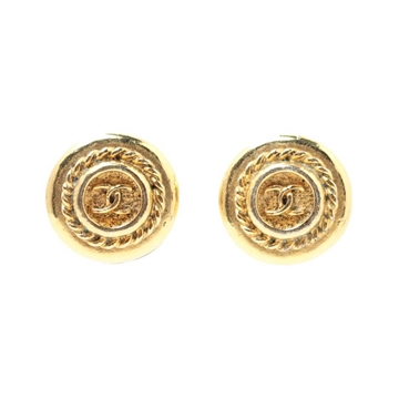 Chanel Round CCMark gold tone vintage Earring