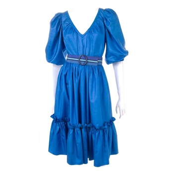 Yves Saint Laurent 1970s Gypsy Silk Royal-Blue vintage set