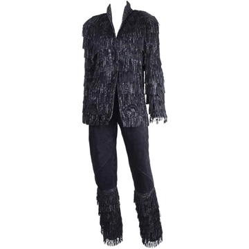 Roberto Cavalli 1980s Suede Fringed silver vintage suit