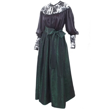 Yves Saint Laurent 1970s Satin black & green Blouse & Skirt set