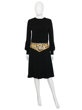 MISS DIOR by CHRISTIAN DIOR 1960s black & gold Vintage dress