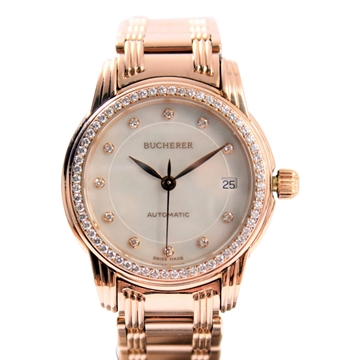 Bucherer rose gold vintage ladies watch with diamond bezel