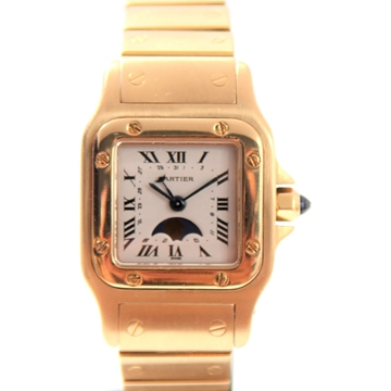 Cartier Santos 18K Gold Moon Phase vintage ladies watch