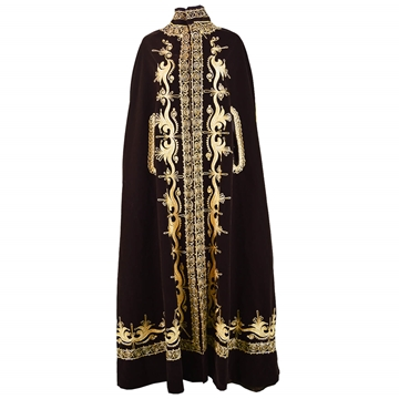 Vintage 1970s Velvet Gold Embroidered brown Maxi Cape