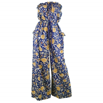 Liberty of London 1970s Floral Print blue Vintage Palazzo Jumpsuit